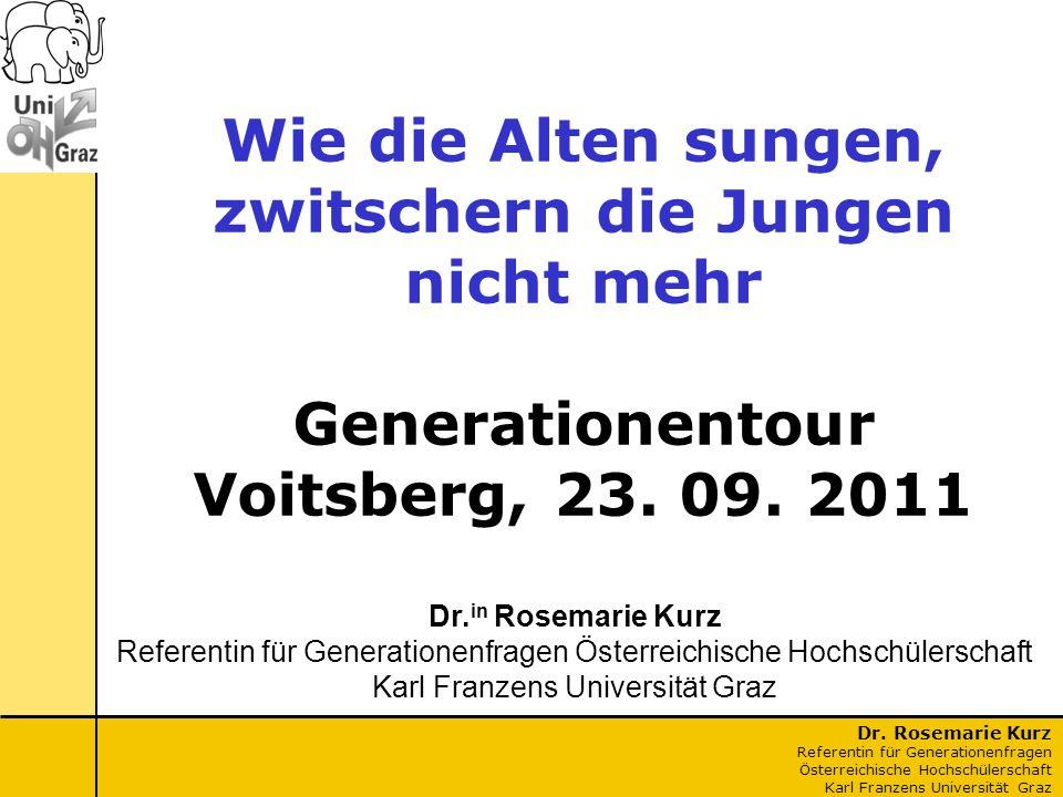 Wie die Alten sungen, zwitschern die Jungen nicht mehr Generationentour Voitsberg, 23. 09. 2011