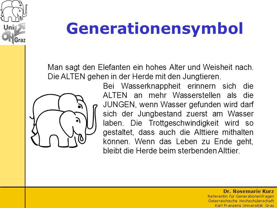 Generationensymbol Man sagt den Elefanten ein hohes Alter und Weisheit nach. Die ALTEN gehen in der Herde mit den Jungtieren.