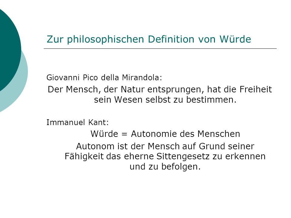 Zur philosophischen Definition von Würde