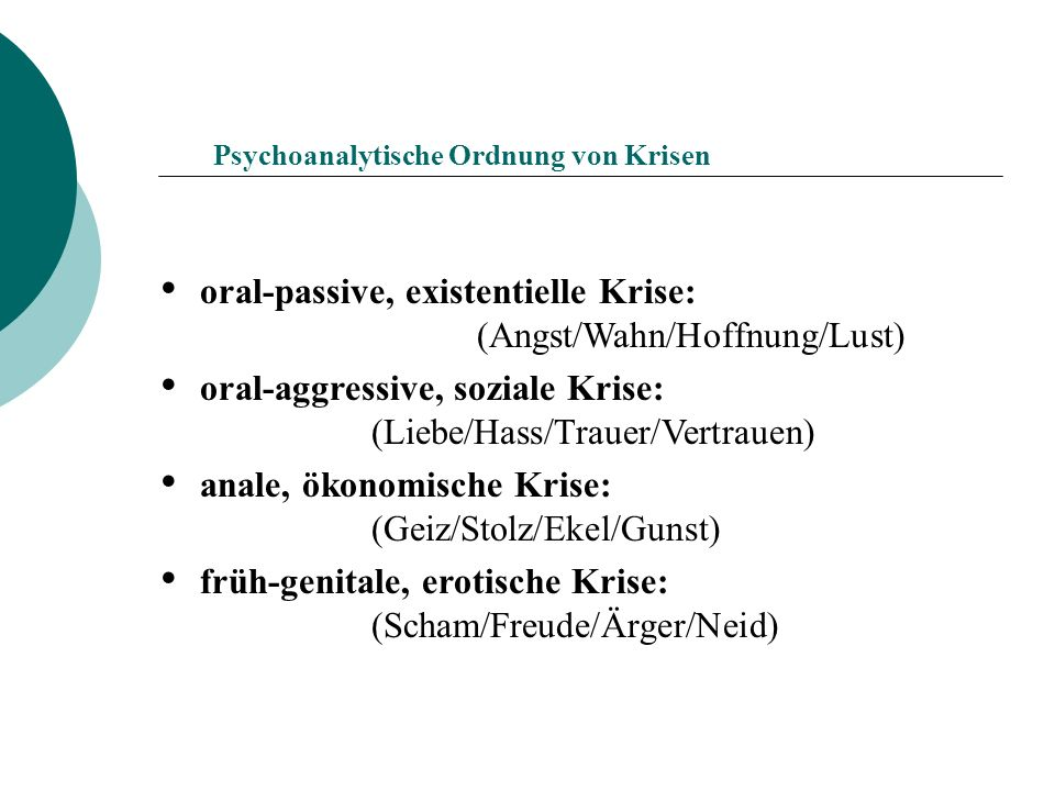 oral-passive, existentielle Krise: (Angst/Wahn/Hoffnung/Lust)