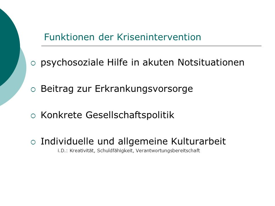 Funktionen der Krisenintervention