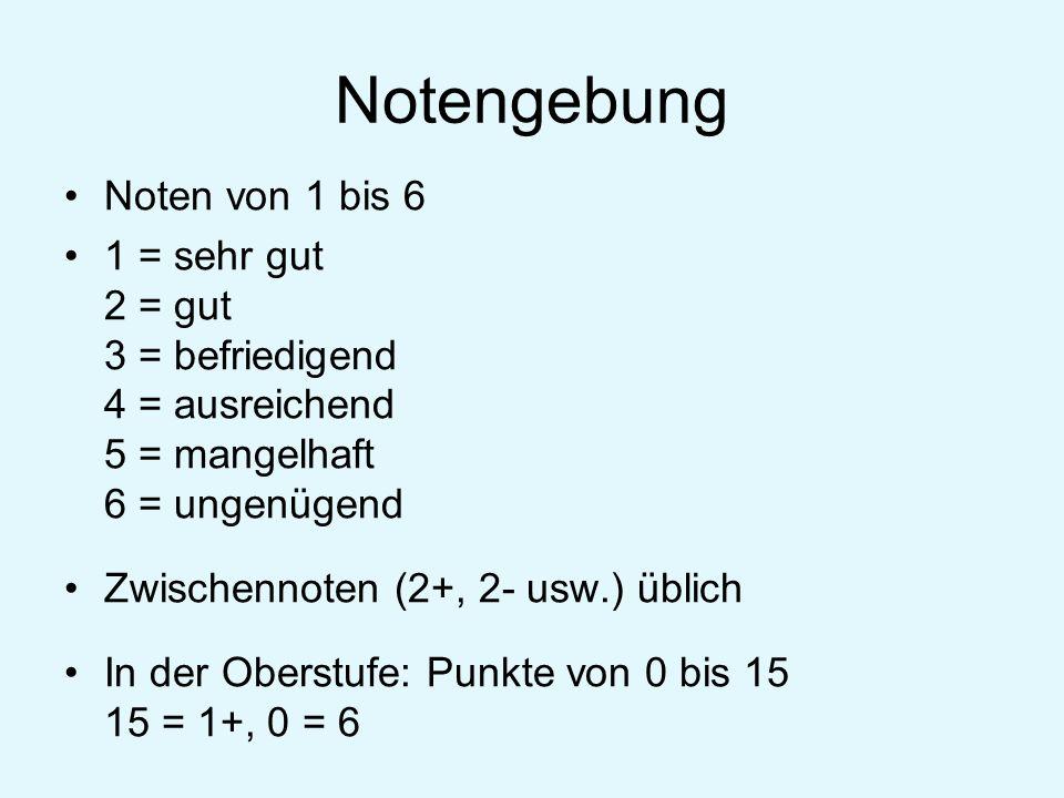 Notengebung Noten von 1 bis 6