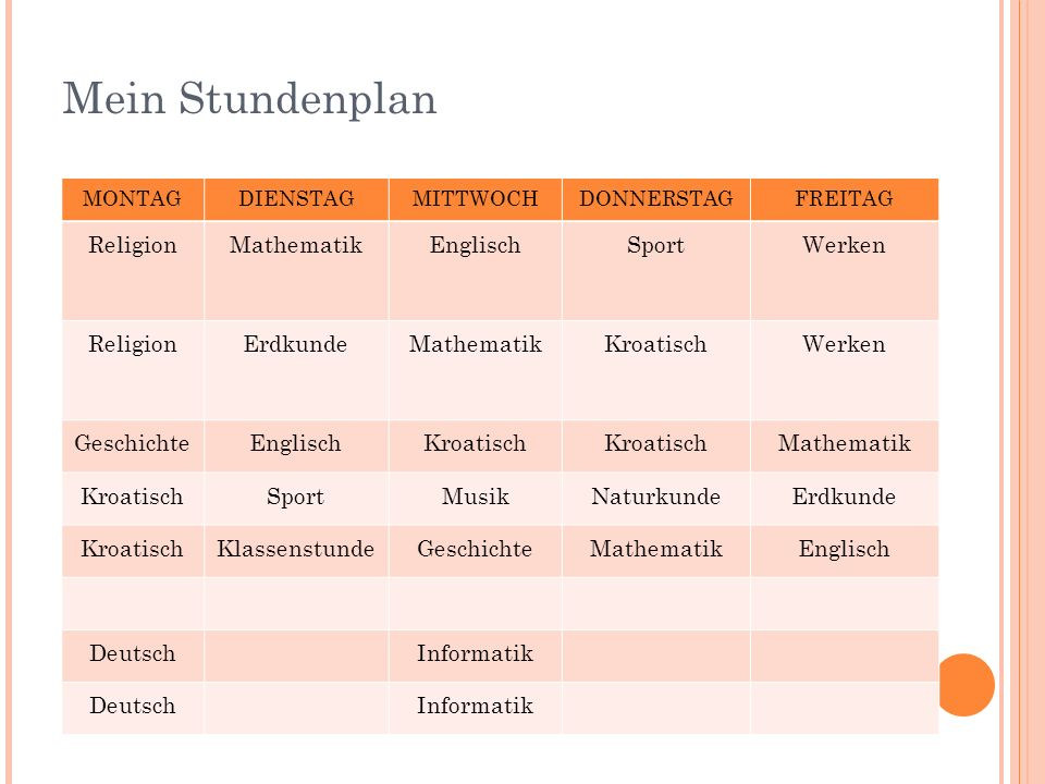 Mein Stundenplan Religion Mathematik Englisch Sport Werken Erdkunde