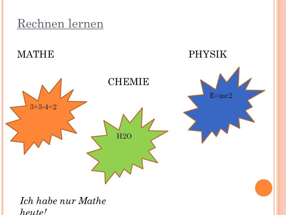 Rechnen lernen MATHE PHYSIK CHEMIE Ich habe nur Mathe heute! E=mc2