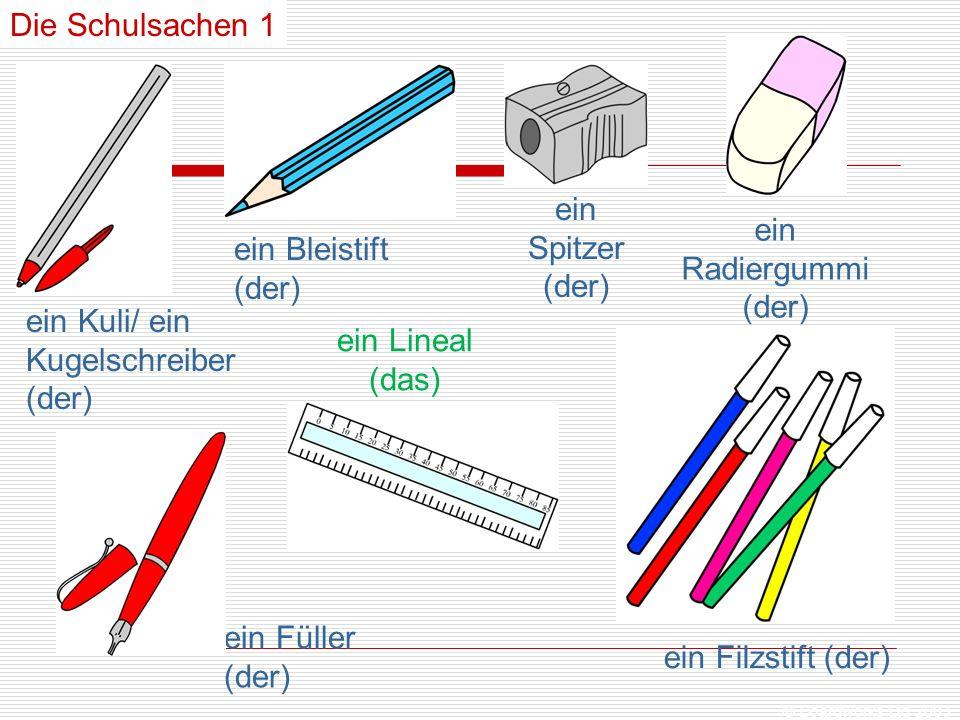 ein Kuli/ ein Kugelschreiber (der) ein Lineal (das)