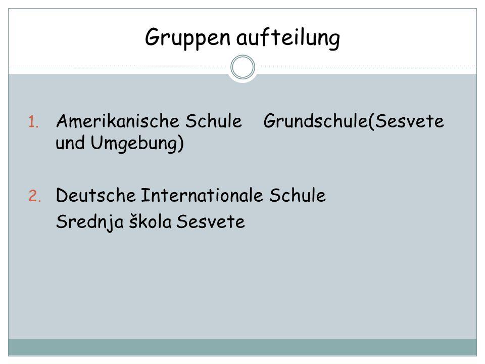 Gruppen aufteilung Amerikanische Schule Grundschule(Sesvete und Umgebung) Deutsche Internationale Schule.