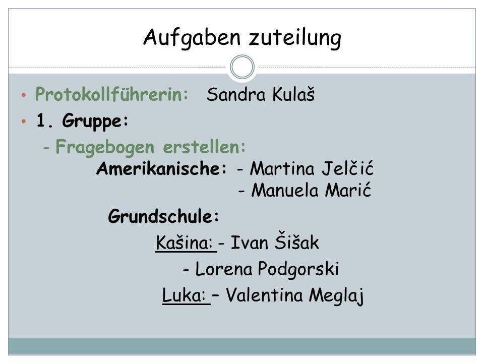 Aufgaben zuteilung Protokollführerin: Sandra Kulaš 1. Gruppe: