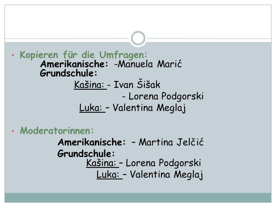 Kopieren für die Umfragen: Amerikanische: -Manuela Marić Grundschule: