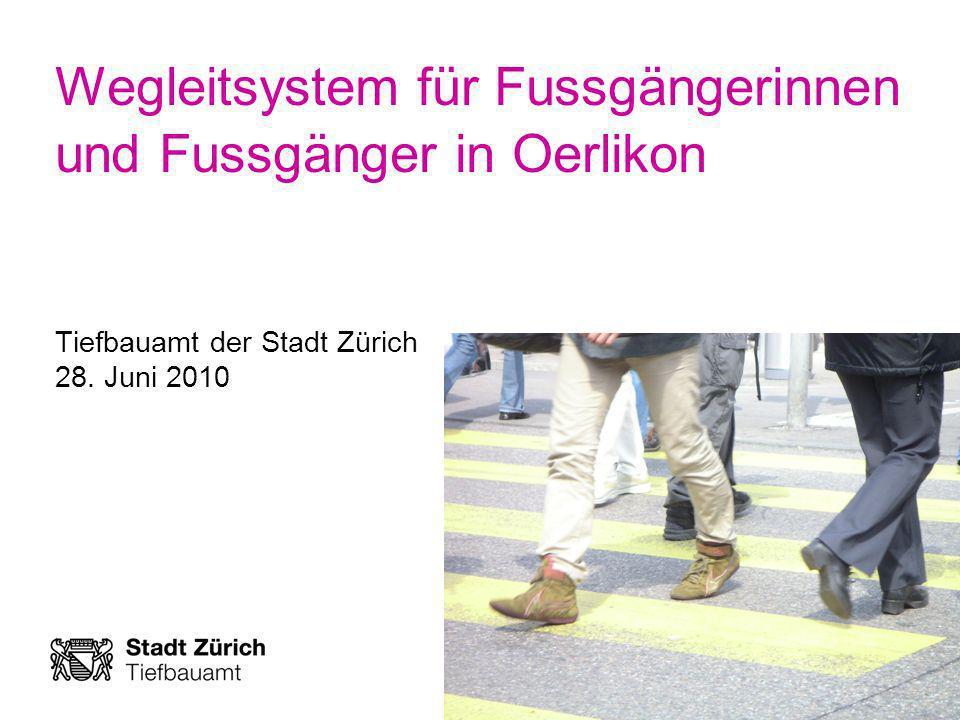 Wegleitsystem für Fussgängerinnen und Fussgänger in Oerlikon