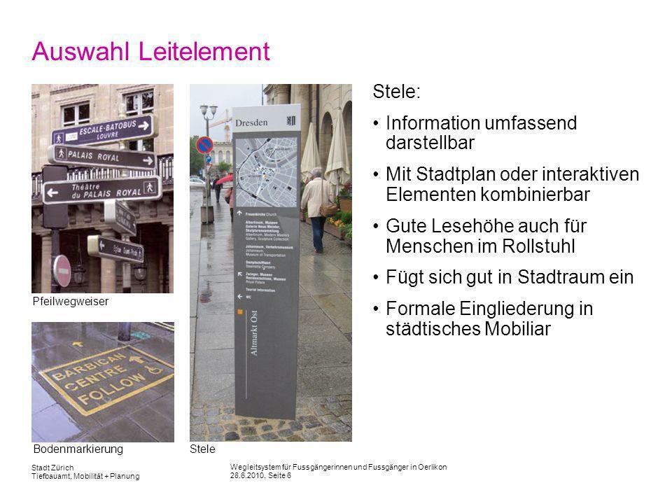 Auswahl Leitelement Stele: Information umfassend darstellbar