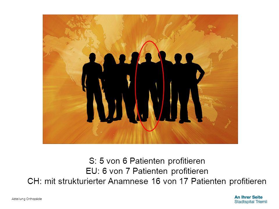 S: 5 von 6 Patienten profitieren EU: 6 von 7 Patienten profitieren