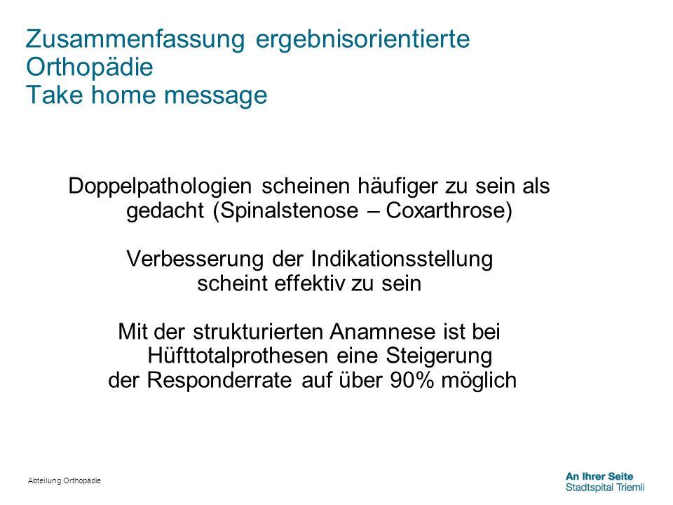 Zusammenfassung ergebnisorientierte Orthopädie Take home message