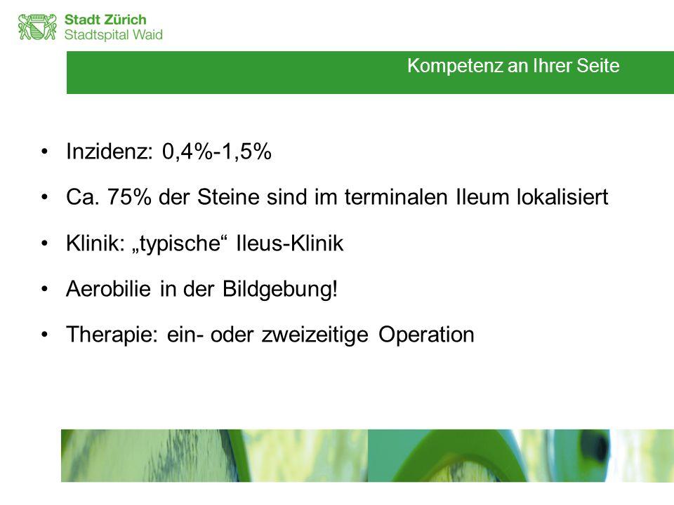 """Inzidenz: 0,4%-1,5% Ca. 75% der Steine sind im terminalen Ileum lokalisiert. Klinik: """"typische Ileus-Klinik."""