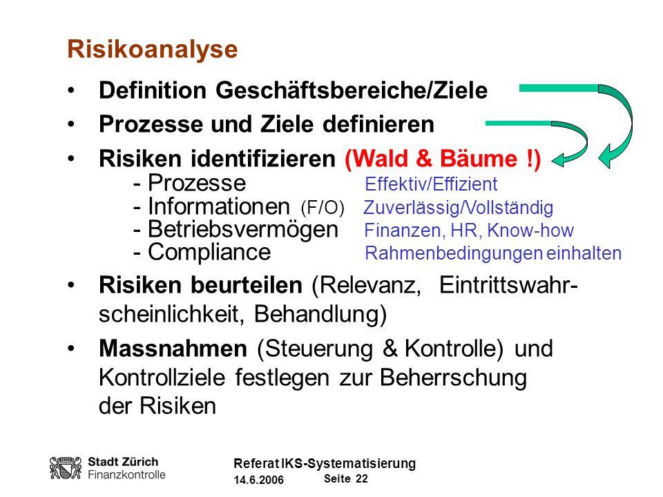 Risikoanalyse Definition Geschäftsbereiche/Ziele