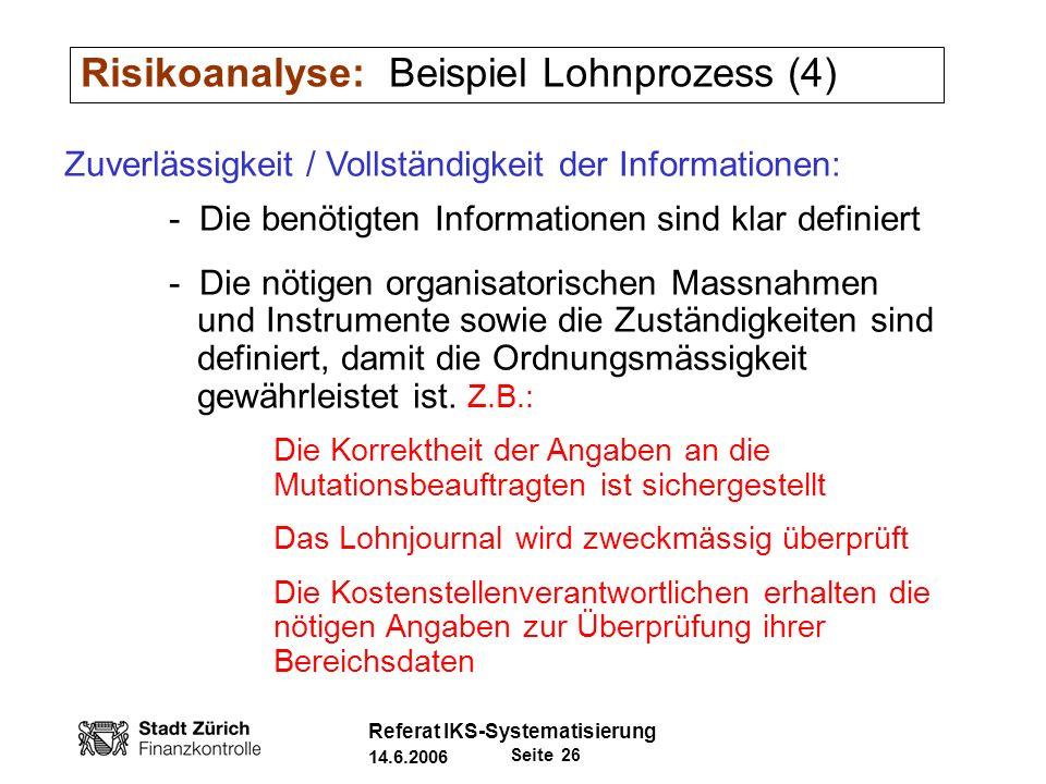 Risikoanalyse: Beispiel Lohnprozess (4)