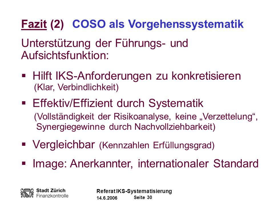Fazit (2) COSO als Vorgehenssystematik
