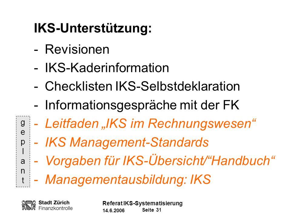 IKS-Kaderinformation Checklisten IKS-Selbstdeklaration