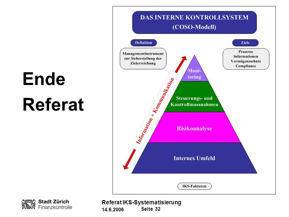 Ende Referat Referat IKS-Systematisierung 14.6.2006