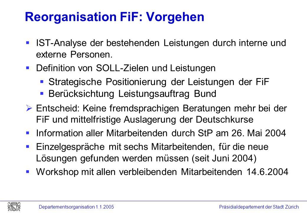 Reorganisation FiF: Vorgehen