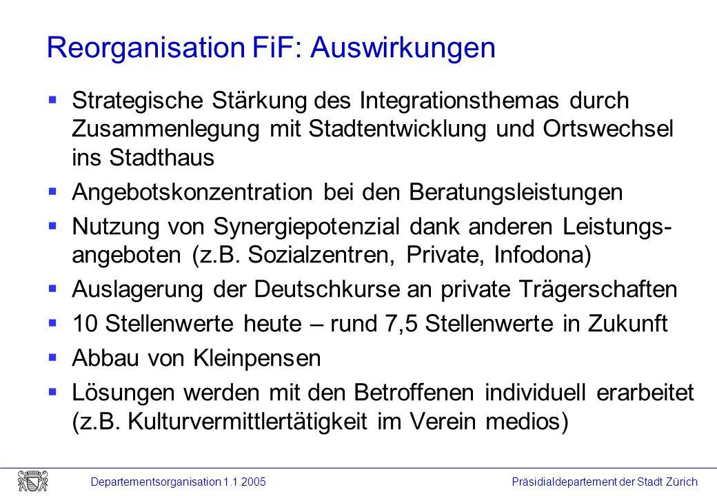 Reorganisation FiF: Auswirkungen