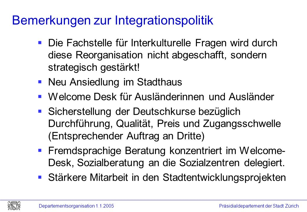 Bemerkungen zur Integrationspolitik