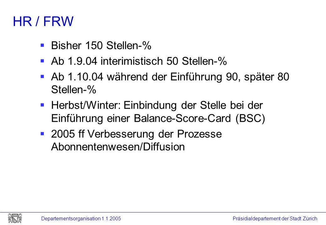 HR / FRW Bisher 150 Stellen-% Ab 1.9.04 interimistisch 50 Stellen-%