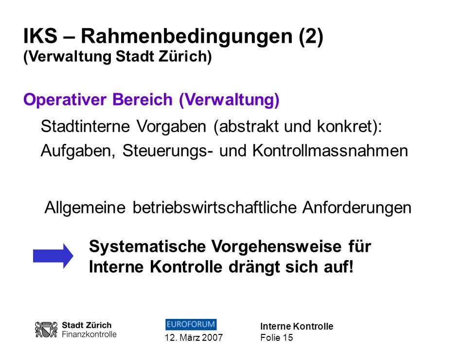 IKS – Rahmenbedingungen (2)