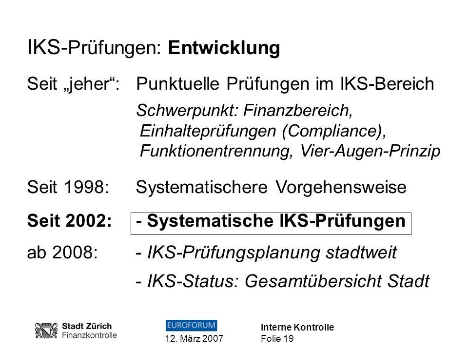 IKS-Prüfungen: Entwicklung