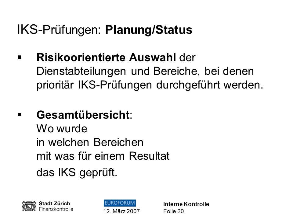 IKS-Prüfungen: Planung/Status