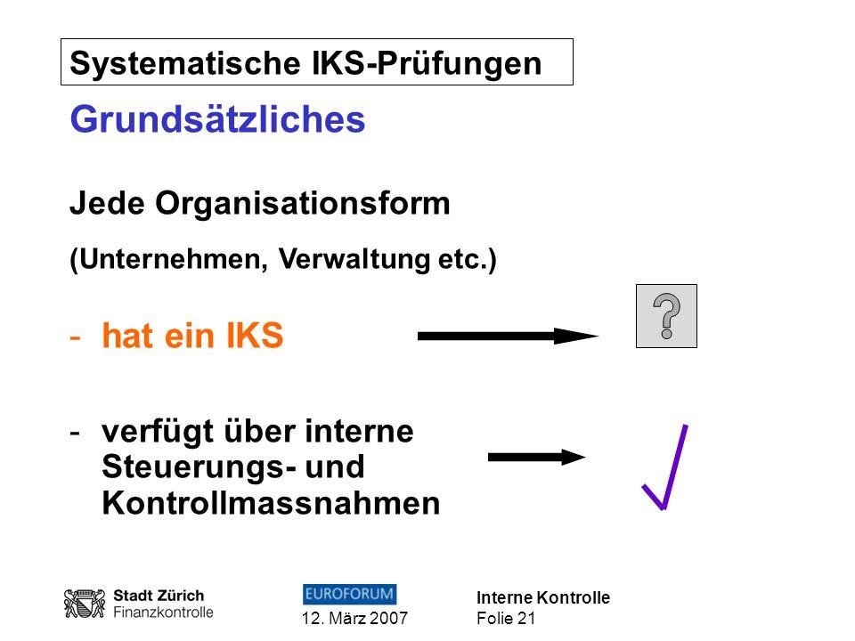 Grundsätzliches hat ein IKS Systematische IKS-Prüfungen
