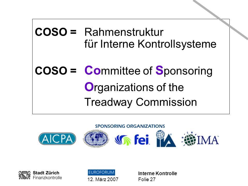 COSO = Rahmenstruktur für Interne Kontrollsysteme