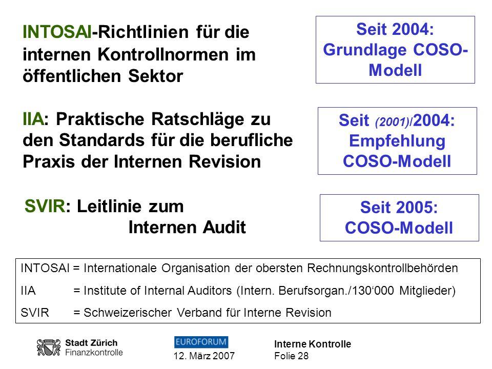 INTOSAI-Richtlinien für die internen Kontrollnormen im