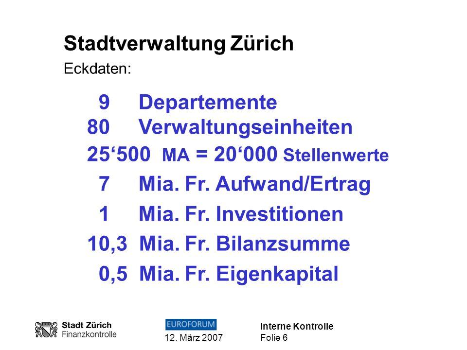 Stadtverwaltung Zürich 9 Departemente 80 Verwaltungseinheiten