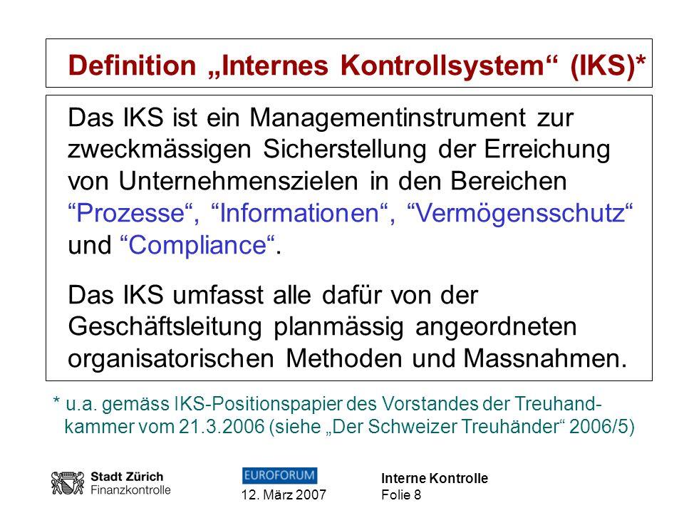 "Definition ""Internes Kontrollsystem (IKS)*"