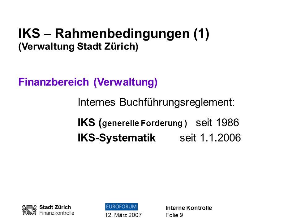IKS – Rahmenbedingungen (1)