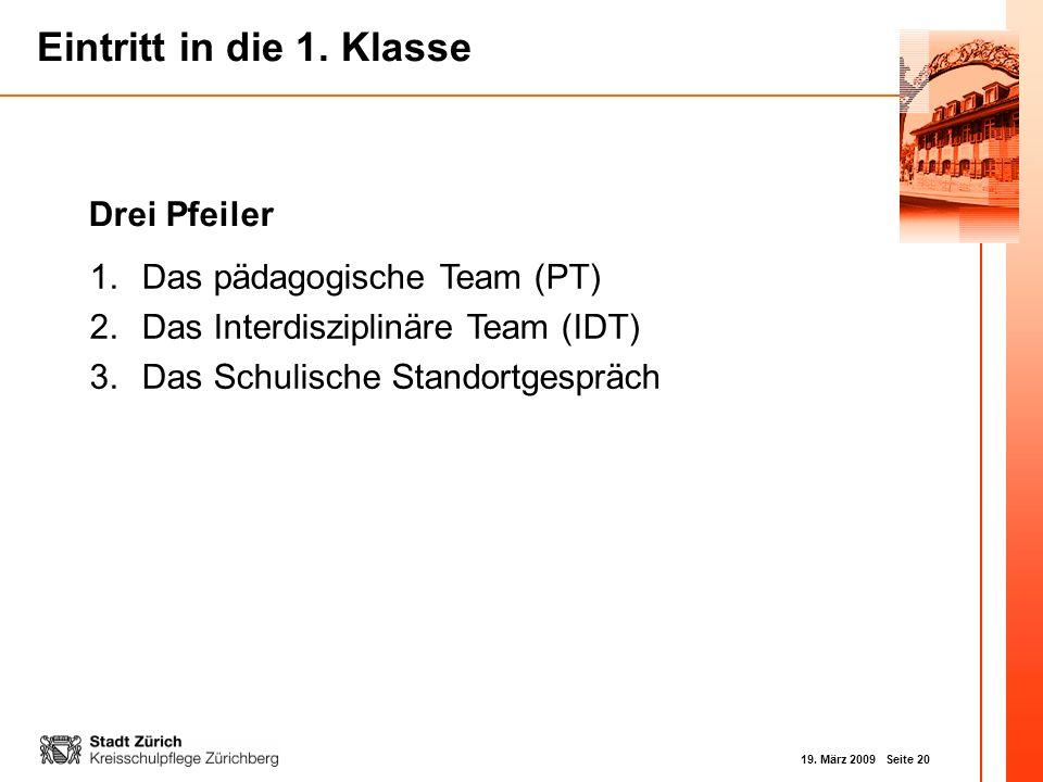 Drei Pfeiler Das pädagogische Team (PT) Das Interdisziplinäre Team (IDT) Das Schulische Standortgespräch.