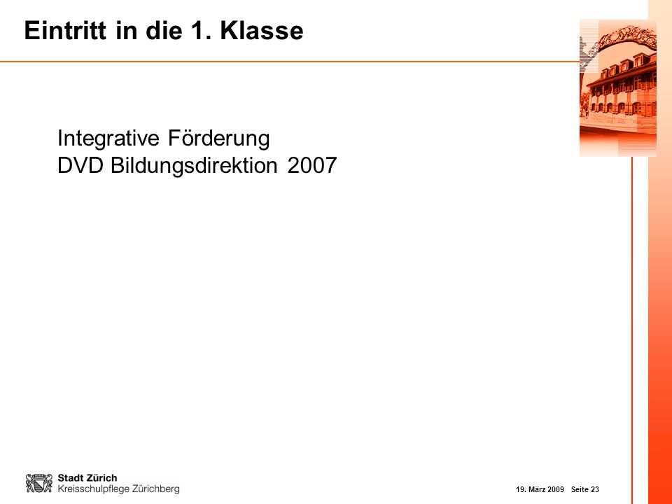 Integrative Förderung DVD Bildungsdirektion 2007