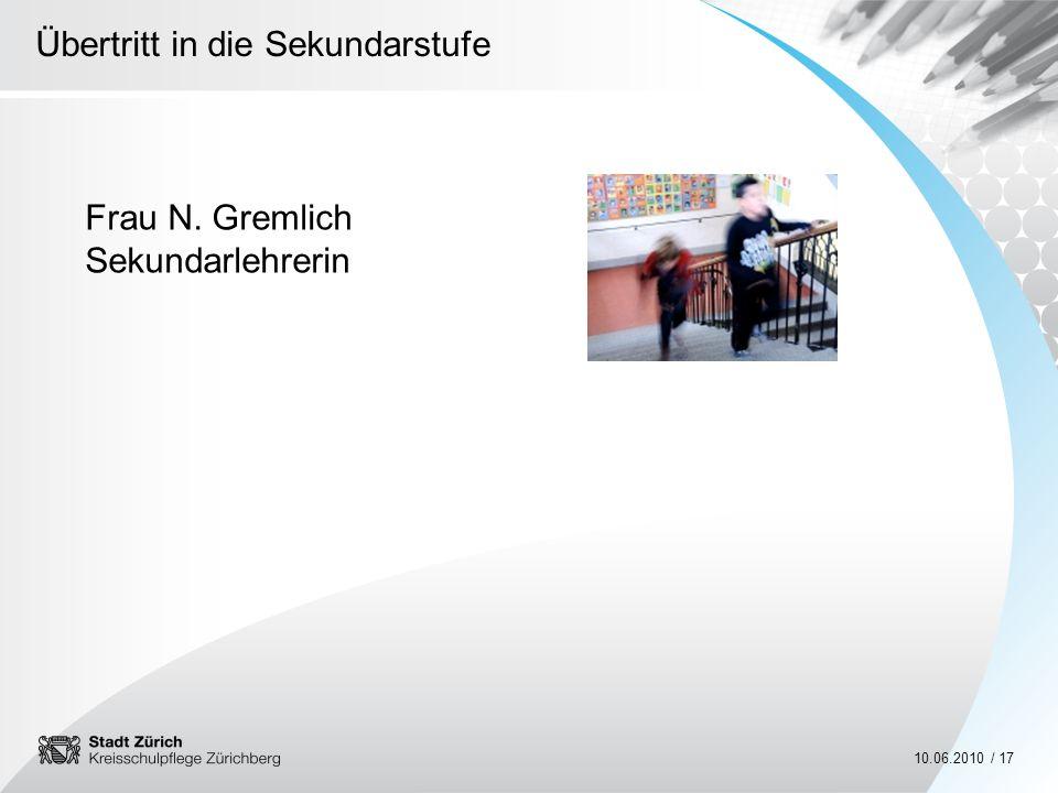 Frau N. Gremlich Sekundarlehrerin
