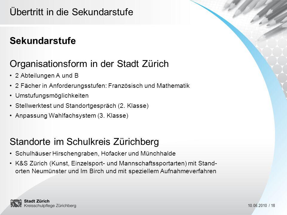Organisationsform in der Stadt Zürich