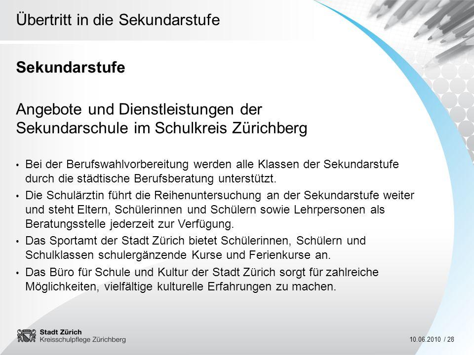 SekundarstufeAngebote und Dienstleistungen der Sekundarschule im Schulkreis Zürichberg.