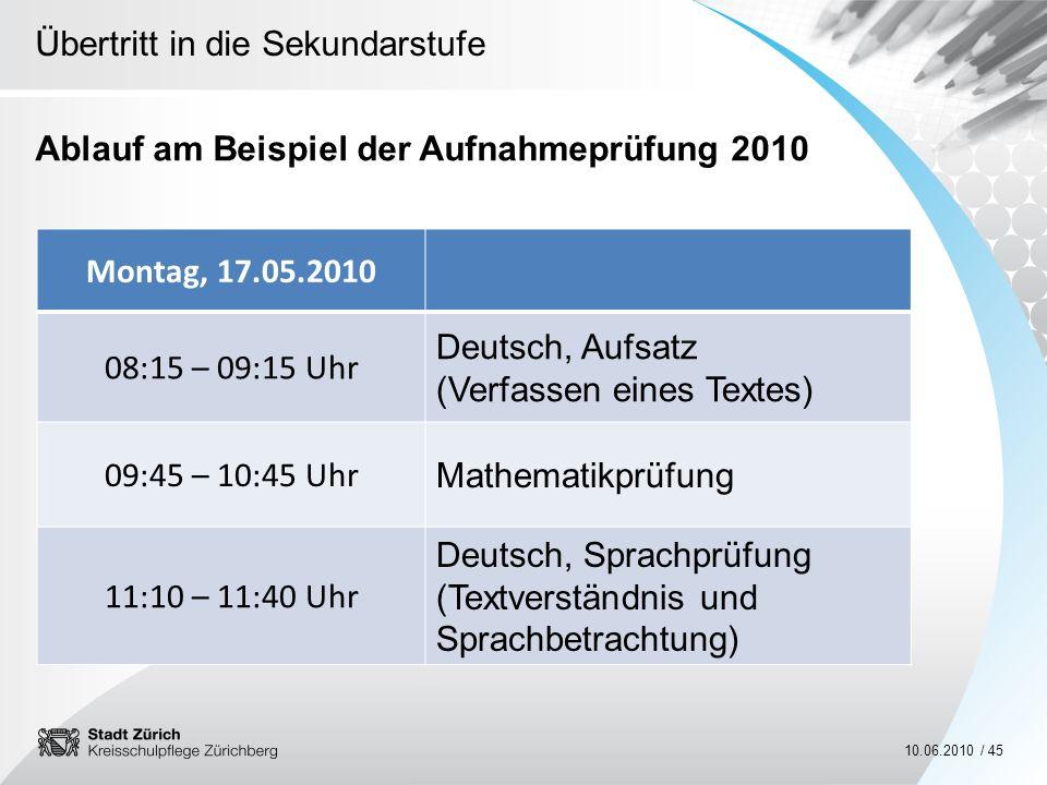 Ablauf am Beispiel der Aufnahmeprüfung 2010