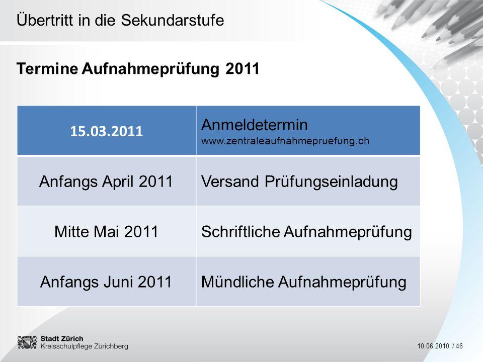 Termine Aufnahmeprüfung 2011
