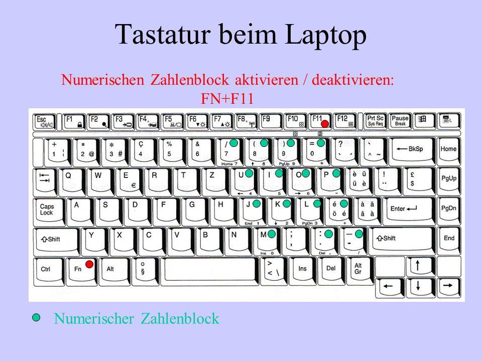 Tastatur beim Laptop Numerischen Zahlenblock aktivieren / deaktivieren: FN+F11.