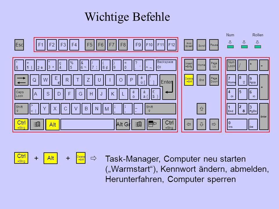 Wichtige Befehle Task-Manager, Computer neu starten