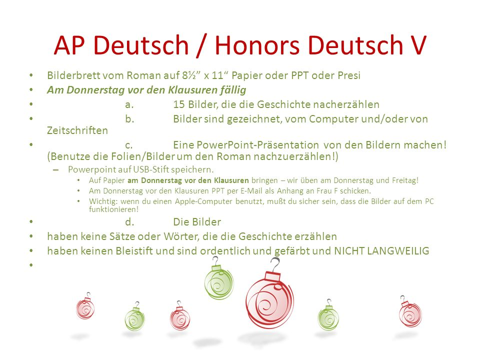 AP Deutsch / Honors Deutsch V