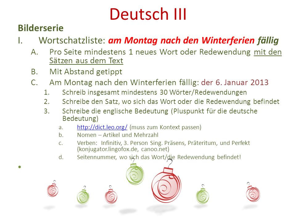 Deutsch III Bilderserie