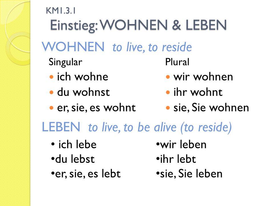 KM1.3.1 Einstieg: WOHNEN & LEBEN