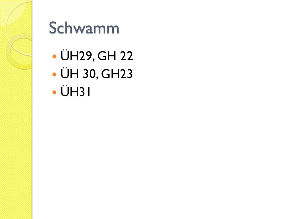 Schwamm ÜH29, GH 22 ÜH 30, GH23 ÜH31