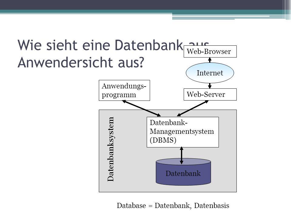 Wie sieht eine Datenbank aus Anwendersicht aus