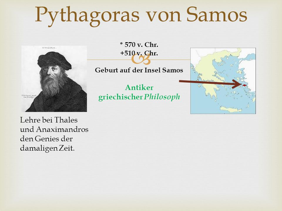 Geburt auf der Insel Samos Antiker griechischer Philosoph